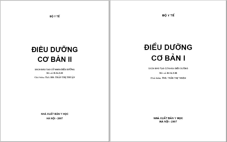 [PDF] Điều dưỡng cơ bản, sách đào tạo cử nhân điều dưỡng – trọn bộ 2 tập – Bộ Y tế