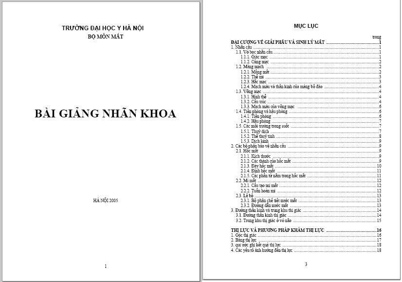 Bài giảng nhãn khoa – Đại học Y Hà Nội – 2005