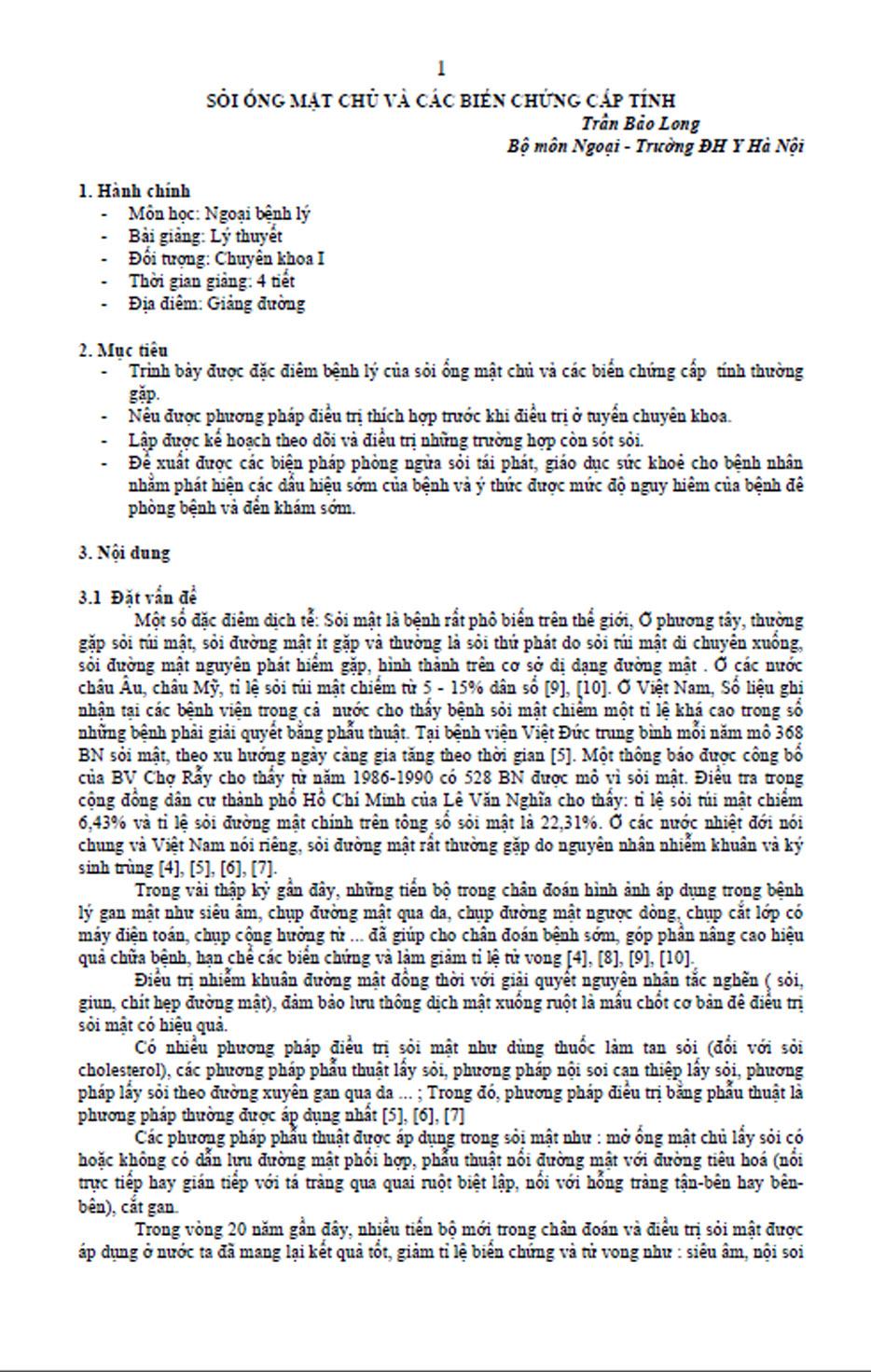 [PDF] Sỏi ống mật chủ và các biến chứng cấp tính – PGS. Trần Bảo Long, Bộ môn Ngoại – Đại học Y Hà Nội